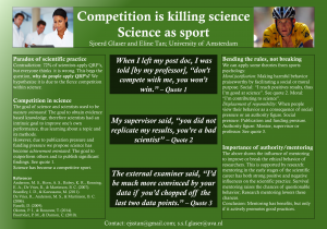 Competition is killing science: Science as sport